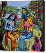 Radha Krishna Man Lila On Radha Kunda Canvas Print by Vrindavan Das
