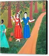 Radha Playing Krishna Canvas Print by Pratyasha Nithin