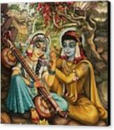 Radha Playing Vina Canvas Print by Vrindavan Das