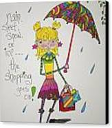 Rain And Shopping Canvas Print by Mary Kay De Jesus
