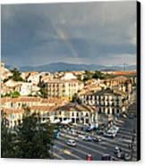 Rainbow And Ancient Aqueduct Canvas Print by Viacheslav Savitskiy