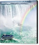 Rainbow And Tourist Boat At Niagara Falls Canvas Print