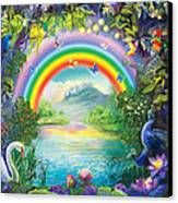 Backgraund Rainbow On Varshana  Canvas Print by Lila Shravani