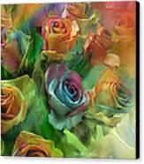 Rainbow Roses Canvas Print by Carol Cavalaris