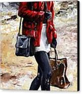Rainy Day - Woman Of New York 09 Canvas Print by Emerico Imre Toth