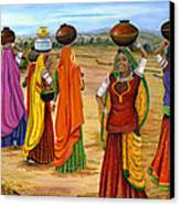 Rajasthani  Women Going Towards A Pond To Fetch Water Canvas Print