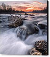 Rapids On Sunset Canvas Print by Davorin Mance