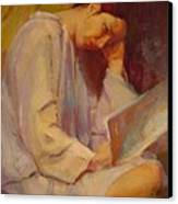 Reading In The Blue Robe  Canvas Print