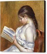 Reading Canvas Print by Pierre Auguste Renoir