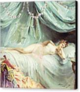 Reclining Nude In An Elegant Interior Canvas Print by Madeleine Lemaire