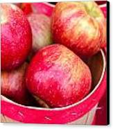 Red Apples In Baskets At Farmers Market Canvas Print