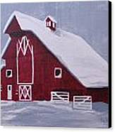 Red Barn Canvas Print by Kathy Weidner