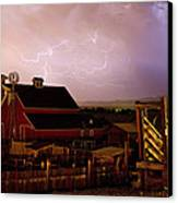 Red Barn On The Farm And Lightning Thunderstorm Canvas Print by James BO  Insogna