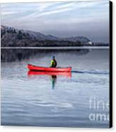 Red Canoe Canvas Print by Adrian Evans