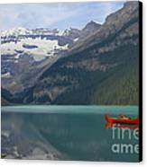 Red Canoes On Lake Louise Canvas Print