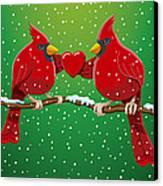Red Cardinal Bird Pair Heart Christmas Canvas Print by Frank Ramspott
