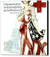 Red Cross World War 1 Poster  1918 Canvas Print by Daniel Hagerman
