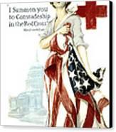 Red Cross World War 1 Poster  1918 Canvas Print by Daniel Hagerman