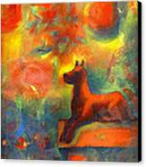 Red Dog In The Garden 2 Canvas Print by Nato  Gomes