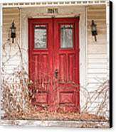 Red Doors - Charming Old Doors On The Abandoned House Canvas Print