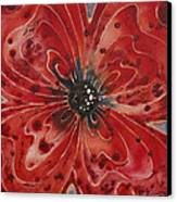 Red Flower 1 - Vibrant Red Floral Art Canvas Print by Sharon Cummings