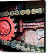 Red Gear Wheel And Chain Of Old Locomotive Canvas Print by Matthias Hauser