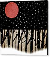 Red Moon And Snow Canvas Print by Carol Leigh