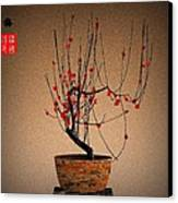 Red Plum Blossoms Canvas Print