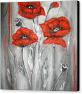 Red Poppies In Silver Dream Canvas Print by Elena  Constantinescu