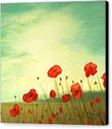 Red Poppy Field With Green Sky Canvas Print by Cecilia Brendel
