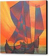 Red Sails In The Sunset Canvas Print by Tracey Harrington-Simpson