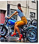 Red Shoes On A Harley Canvas Print by Tony Reddington