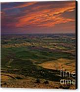 Red Sky Over The Palouse Canvas Print by Mike  Dawson