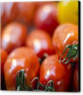 Red Tomatoes At The Market Canvas Print by Heather Applegate