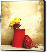 Red Vase Red Bird And Red Yellow Rose Canvas Print by Marsha Heiken
