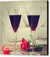 Red Wine And Roses Canvas Print by Amanda Elwell