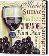 Red Wine Text Canvas Print by Debbie DeWitt