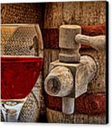 Red Wine With Tapped Keg Canvas Print