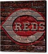 Reds Baseball Graffiti On Brick  Canvas Print