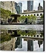 Reflecting In Bryant Park Canvas Print by Shmuli Evers