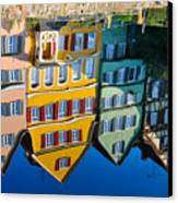 Reflection Of Colorful Houses In Neckar River Tuebingen Germany Canvas Print