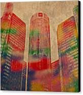 Renaissance Center Iconic Buildings Of Detroit Watercolor On Worn Canvas Series Number 2 Canvas Print by Design Turnpike