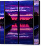 Repairing The Monument Triptych Canvas Print by Metro DC Photography