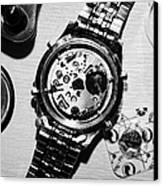 Replacing The Battery In A Metal Band Wrist Watch Canvas Print by Joe Fox