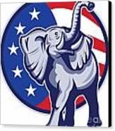 Republican Elephant Mascot Usa Flag Canvas Print