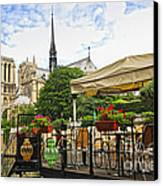 Restaurant On Seine Canvas Print by Elena Elisseeva