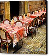 Restaurant Patio In France Canvas Print by Elena Elisseeva