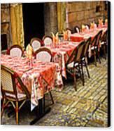 Restaurant Patio In France Canvas Print by Elena Elisseeva