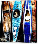 retired Kayaks Canvas Print by Rebecca Adams