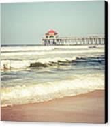 Retro Photo Of Huntington Beach Pier  Canvas Print
